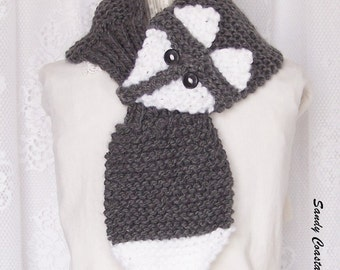 Hand knit fox scarf - grey scarf - womens accessories -  winter accessories winter scarf - Sandy CoastalDesigns - made to order