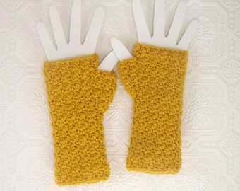 Crochet Fingerless Gloves - Fingerless Mittens - honey gold - Winter Fashion Winter Accessories by Sandy Coastal Designs - ready to ship