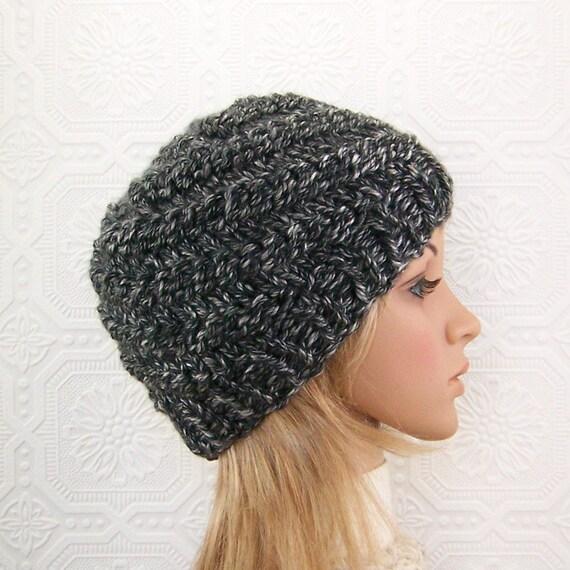 Handmade knit hat - black gray beanie - Fall Fashion Autumn Fashion Winter Fashion Sandy Coastal Designs ready to ship