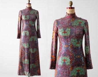 1960s sequin maxi dress by Malcolm Starr, vintage long purple dress
