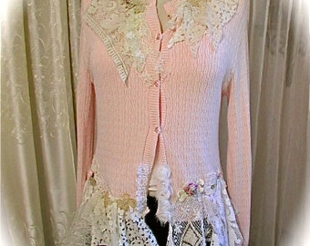 Shabby Pink Sweater, womens clothing, altered sweater, refashioned sweater, tattered shabby n chic style, romantic lace sweater, LARGE