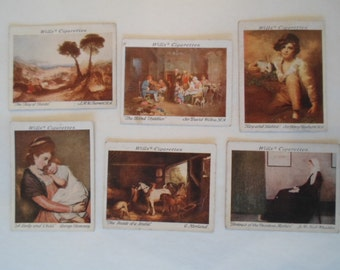 Vintage Wills Cigarette Cards  Collection set of  6 British School of Painting