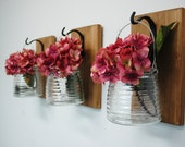 Clear Honey Pot Wall Decor, mounted to wood base with wrought iron hooks, rustic decor, painted jars, farmhouse decor