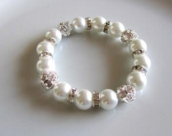 White pearl bracelet with rhinestones and rondelle spacers  - Bridal bracelet - Bridesmaid bracelet - Bridal under 25
