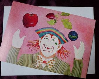 Vegetable Juggler Rainbow Clown Greeting Card 1980