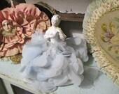 Vintage French Boudoir Nightlight Lamp Shade Half Doll Porcelain Marie Antoinette Blue Petal Skirt
