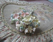 Vintage Millinery Flowers Lightly Flocked Velvet Pastel Pink Yellow Blue Daisy Daisies Stem Bunch of 10 Japan Crafts Hat