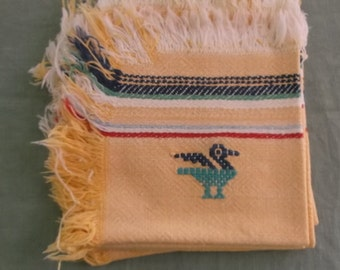 Vintage Napkins Gold Fringe Edge Cotton with Bird Detail 4 Napkins