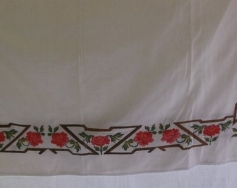 Vintage Tablecloth White Huck with Brown Lattice and Red Rose Cross Stitch Border