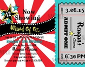 Movie Party Invitation Birthday Printable Grey Red White Yellow Turquoise Outdoor Theater Cinema Party