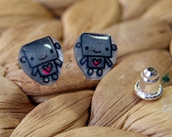 Baby robots, Illustrated Hand-Made Stud Earrings