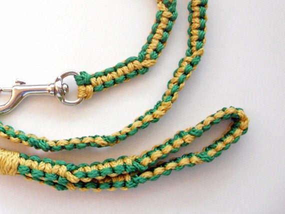 Green and Gold  5 ft Macrame Leash
