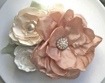 Dusty Rose and Ivory Vintage Inspired Fabric Flower Bridal Sash Pin