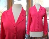 Hot Pink V Neck Vintage Blouse