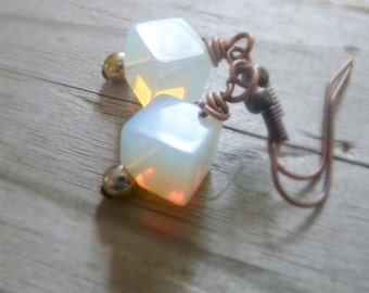 Glass Moonstone and Copper Earrings, Small Dangle Earrings, Simple Jewelry, Copper Jewelry, Modern Cube Earrings, Glass Opal Beads