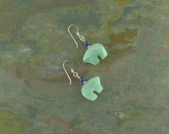 Bear Fetish Zuni Gemstone Earrings Sterling Silver Amazonite & Lapis Lazuli