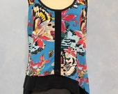 Nicole Miller Blouse, Teal Blouse, Teal Tank,  Butterfly Tank - FREE SHIPPING