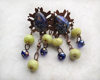 Copper Earrings, Purple Earrings, Jade Earrings, Post Earrings, Blue Earrings, Copper Jewelry, Dangle, OOAK Earrings, Handmade