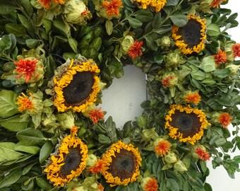 Sunflower Wreath  Boxwood Wreath   Autumn Decor  Autumn Wreath  Hand Crafted Wreath  Fall Wreath Natural Wreath