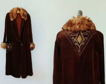 RESERVED -- RARE! 1920s Coat / 20s Folk Embroidered Fur Trimmed Coat / MUSEUM Quality