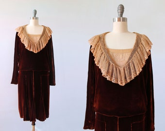 RESERVED 1920s Dress / 20s Silk Velvet and Antique Lace Flapper Dress