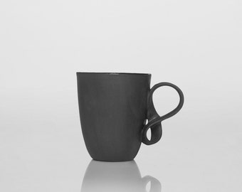 Porcelain Cup MOBIUS cup black porcelain china mug handmade by ENDE