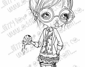 Digi Stamp Digital Instant Download Creepy Cute Big Eye Teacher With Bloody Eyeballs ~ Ms. Ann Thrax Image No.102/102B/102C by Lizzy Love