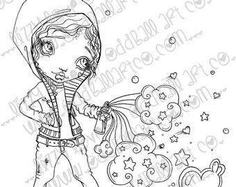 Digi Stamp Digital Instant Download Big Eye Graffiti Artist Girl Aya with Tag w/ Sentiments No. 126 & 126B by Lizzy Love