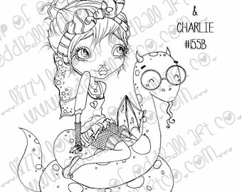 Digital Stamp Instant Download Big Eye Fairy Girl and Friend ~ Sally and Charlie Image No. 155 & 155B by Lizzy Love