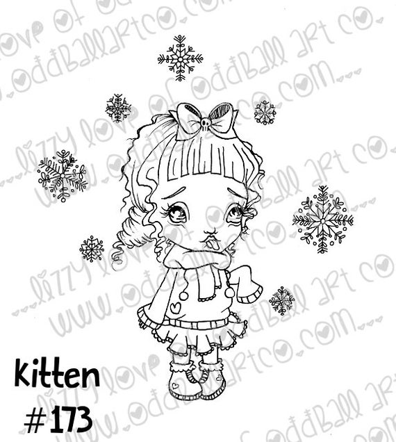 INSTANT DOWNLOAD Digi Stamp Digital Image Cute Big Eye Winter Chibi Girl Kitten & Snowflakes Image No.173 by Lizzy Love