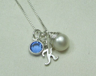 Initial Necklace Bridesmaid Gift Personalized Necklace Bridesmaid Jewelry Pearl Birthstone Necklace Bridesmaid Necklace Monogram Necklace