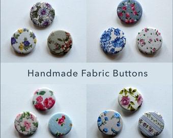 Handmade Floral Fabric Button / Badge Set of Three