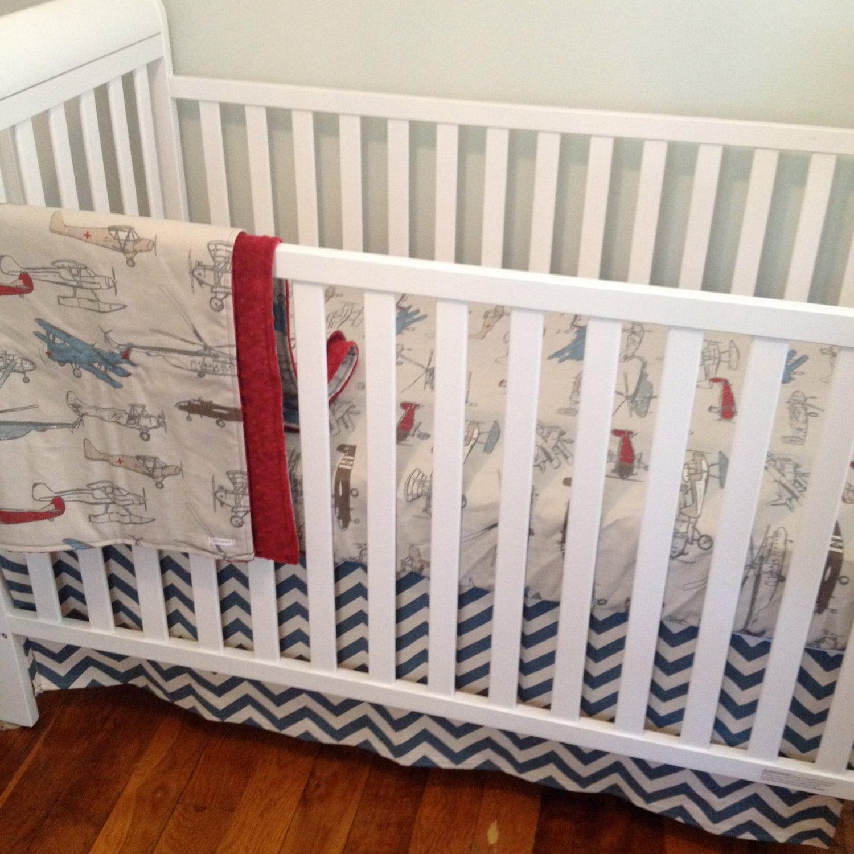 Airplane Crib Bedding Bumperless Baby Bedding Retro Airplane