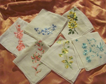 Lot of 6 Beautiful Vintage Embroidered White Hankies