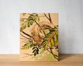 "Paint by Number Large 8"" x 10"" Art Block 'Nesting Instinct' - nest, eggs, vintage art"