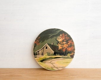 Paint by Number Circle Art Block 'Mountain Cabin' - fall scenery, vintage art