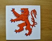 Lion rampant red lion heraldry greetings card
