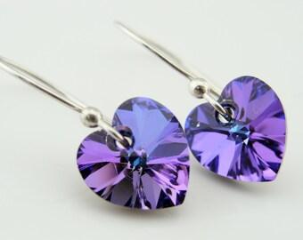 Swarovski Crystal Purple Heart Sterling Silver Earrings