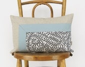 Colorblock Pillow Cover in Light Aqua Blue, Natural and Fern Pattern | 12x18 / 30x45 cm Lumbar Decorative Pillow Cover - Modern Home Decor