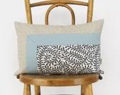 Colorblock Pillow Case, Cushion Cover in Dusty Blue, Natural & Fern Accent | 12x18 / 30x45 cm Aqua Lumbar Decorative Pillow | Modern Decor
