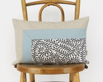 Colorblock Pillow Case, Cushion Cover in Dusty Blue, Natural & Fern Accent | 12x18 / 30x45 cm Aqua Lumbar Decorative Pillow | Modern Decor