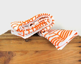 Throw blanket for babies, toddler and kids | Orange and white geometric graphic baby blanket | Large chevron pattern colorful nursery decor