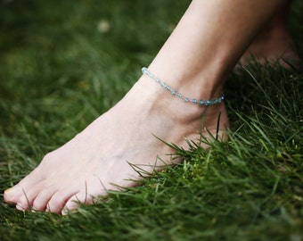 Aquamarine Silver Anklet, Blue Sky Chain Anklet, Silver Filled Chain Anklet, Foot Jewelry, Boho Chain Anklet, Beach Jewelry, Gemstone Anklet