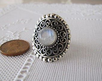 Gorgeous Rainbow Moonstone Sterling Silver Ring, Size 8, Boho Chic