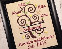 Tree of life, Family tree, curly, split, Personalized Names - machine embroidery designs - for hoop 5x7, 6x10 and 8x12! and mini fonts