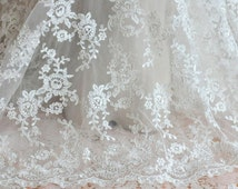 Ivory Alencon Lace Fabric Floral Wedding Lace Fabric Dress Coat Fabric 55 Inches Wide 0.6 Yard