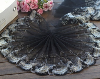 2 Yards Lace Trim Leather Embroidered Black Tulle Lace Trim 8.66 Inches Wide High Quality