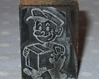 Antique Press Metal on Wood Block Stamp Advertising Newspaper - Cartoon Comic Moving Man Boxes