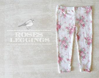 Little girl Leggings, Floral Legging for Girls, Shabby Chic Baby Leggings, Baby and Toddler Roses Leggings