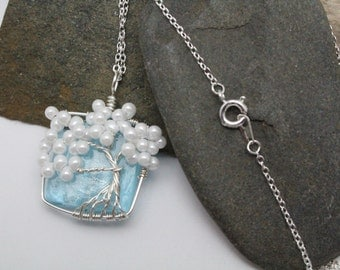 White Pearl Tree of Life on Blue Foil Square Glass Bead Necklace Pendent
